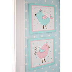 The adorable Pixie Baby in Aqua 2-piece wall art set with is decorated with whimsical birds that coordinate well with the My Baby Sam Pixie Baby in Aqua collection. Each piece in this set measures 10x10 inches.