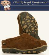 Old Friend Footwear - Men's ALPINE - Leather Sheepskin Boot Slippers - Dark Brown