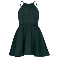 After Dark High Neck Apron Dress (93 AUD) ❤ liked on Polyvore featuring dresses, vestidos, short dresses, green, low back mini dress, high neckline dress, high neck cocktail dress and low back dress