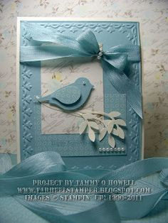 handmade snniversary card from Tarheel Stamper: Baja Breeze Beautiful Bird ... punched bird ... blues and vanilla ... Stampin' Up!