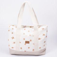 Tote bag Aluminé, crudo estrella cobre y zócalo beige