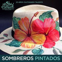 Painted Hats, Painted Clothes, Hat Embroidery, Hand Embroidery Stitches, Spring Hats, Summer Hats, Hat Crafts, Diy And Crafts, Stylish Hats