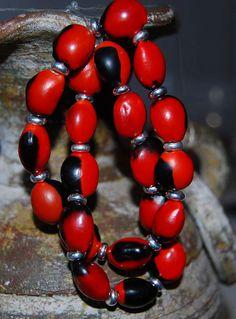 Red and Black Huayruro Peruvian Seed Bracelet by DenimDawgJewelry, $15.99