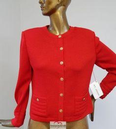 New-St-John-Collection-Red-Santana-Knit-Crest-Button-Jacket-sz-8-nwt