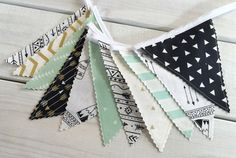 Bunting Banner Flags,Teepee,Nursery Decor,Birthday Decoration,Garland,Pennant,Home Decor,Tribal,Gold,Black,Mint Green,Aztec Nursery,Arrows