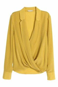 H&M Wraparound Silk Blouse inYellow, Wrap Blouse, Blouse Dress, Hijab Fashion, Fashion Dresses, Gothic Fashion, Beautiful Blouses, Fashion Sewing, Mode Style, Ladies Dress Design