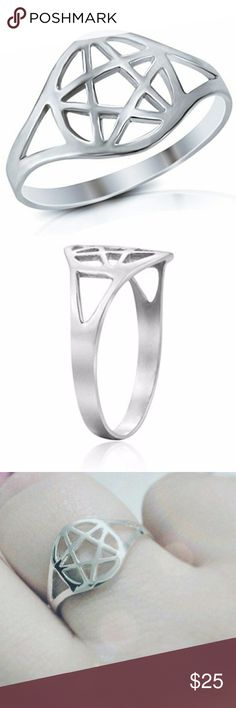 Sterling Pentacle Ring Thin, Lightweight design for comfortable wear. .925 Sterling Silver Ring Measures 11mm wide across the front Comes in box Jewelry Rings