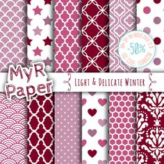 "Digital Paper: ""Light & Delicate Winter"" #Patterns Pack and Backgrounds with Damask, Polka Dots, Stars, Hearts in Lilac, Plum, Gray and White  50% OFF ON ORDERS OVER 12 $ (O... #design #graphic #digitalpaper #scrapbooking"