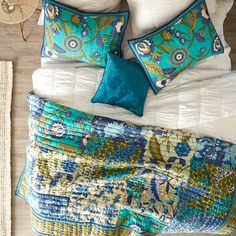 Floral Medley Teal Quilt & Sham | Quilt, Floral and Pier 1 imports : pier one quilts - Adamdwight.com