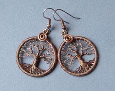 Copper Tree of Life earrings Wire wrapped Round earrings Family tree gift for Her Copper anniversary gift Diameter 1.06 inches (27 mm)  MW22
