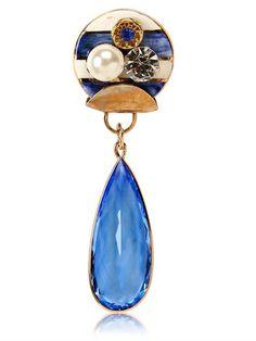 SONIA BOYAJIAN - GYPSY ZIRCON AND GOLD PLATED PIN - BLUE/WHITE