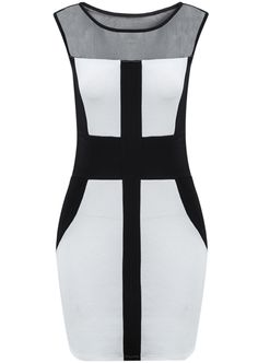 White Sleeveless Contrast Hollow Bodycon Dress - Sheinside.com