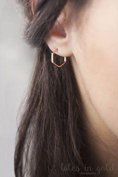 Rose Gold Hoops Small Hoop Earrings Hexagon Earrings Rose