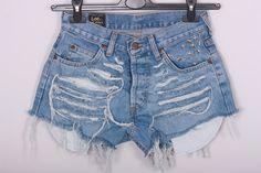 High waisted LEE Denim Shorts STUDDED Back Pocket  Vintage Destroyed DIY Cut Off Jeans S. $45.00, via Etsy.