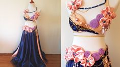 Time lapse - pink & navy belly dance costume