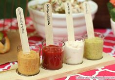 Summer / Party Food: condiment station using beer tasting paddle