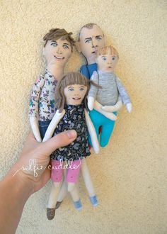 personalised handmade fabric doll, portrait doll, family dolls