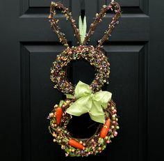Easter Wreath - Bunny Wreath - Spring Wreath - Rabbit Wreath - Easter Door Decor - Last One. $69.00, via Etsy.