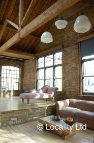 Brick, Brick walls as a feature, Exposed beams, Floor to ceiling windows, Living room, Wooden floor, Open Plan