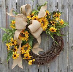 Large Spring Summer Sunflower Grapevine Wreath  burlap Bow,Silk Flowers HandMade #Grapevine