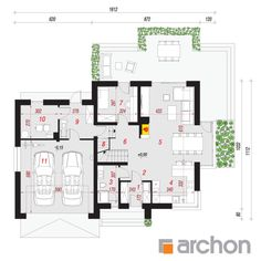 Dom w tamaryszkach 2 New Homes, Floor Plans, How To Plan, Interior Design, House Styles, Trendy Tree, Houses, Nest Design, Home Interior Design