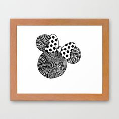 Zentangle Minnie Mouse Framed Art Print