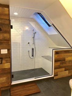 Modern Farmhouse Bathroom with angled ceiling and skylight. Sloped Ceiling Bathroom, Slanted Ceiling Bedroom, Skylight Bathroom, Small Attic Bathroom, Loft Bathroom, Upstairs Bathrooms, Bathroom Layout, Bathroom Interior Design, Attic Master Bedroom