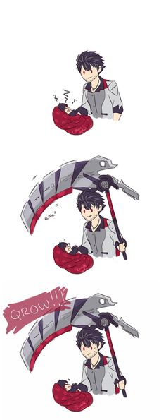Behold, baby Ruby! Scythes!- RWBY http://chaotichero.tumblr.com/post/141325895572/chaotichero-no-one-knew-how-qrow-was-able-to