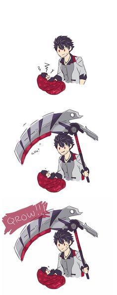 little Ruby like the instrument of death? Does little Ruby like the instrument of death?Does little Ruby like the instrument of death? Rwby Anime, Rwby Fanart, Anime Meme, Armin, Rwby Qrow, Qrow Branwen, Little Ruby, Red Like Roses, Rwby Memes