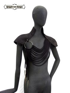 leather capelet shoulder wear club wear statement by Renegadeicon