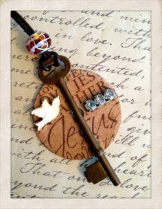 Skeleton Key & Washer Pendant Necklace by SavedByGrace1970 on Etsy, $28.00