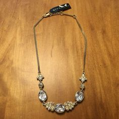 Givenchy Gold Tone Clear & Champagne Crystal Frontal Necklace, NWT $98  #Givenchy #Pendant