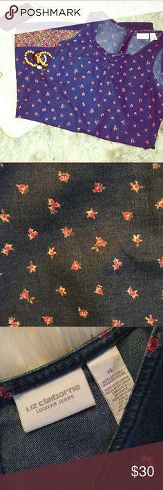 🆕LIZ CLAIBORNE Cotton Denim Floral Dress 14 🌹 LIZ CLAIBORNE Denim 100% cotton Floral pattern dress. Exposed zipper back. Really cute! Pre loved no defects great condition!❌⭕️❌⭕️ Size 14❌⭕️❌⭕️ Liz Claiborne Dresses