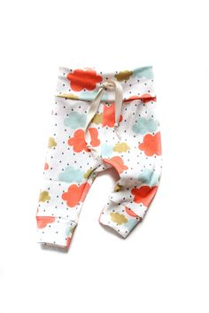 Organic Drawstring Baby Leggings Colorful Rainy Day