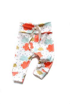 Organic Drawstring Baby Leggings Colorful Rainy Day