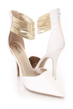 These sexy single sole heels include a faux leather upper with a pointed closed toe, metallic ankle strappy design, back zipper closure, smooth lining, and cushioned footbed. Approximately 4 inch heels.http://www.amiclubwear.com/shoes.html