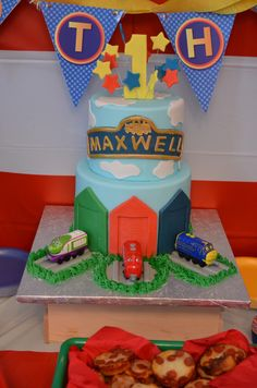 We chose a Chuggington first birthday party theme for our son, Maxwell. He loves the show on Disney. The colors are so bright and fun.