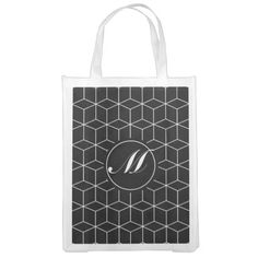 Geometry Pattern and Monogram Market Tote