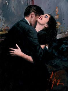 """""""The difference between a greeting hug and a farewell hug. –Painting by Argentinean artist Fabian Perez"""" Fabian Perez, Romantic Paintings, Beautiful Paintings, Tattoo Aquarelle, Illustrations, Illustration Art, Pulp Art, Couple Art, Lovers Art"""