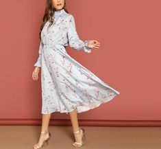 Shein Blue Smocked High Neck And Cuff Floral Print High Neck Boho Solid Dress Women Fit And Flare Spring Autumn A Type Dress Spring Dresses, Spring Outfits, Maxi Dresses, Maxi Skirts, Fashion Dresses, Fit And Flare, Marine Uniform, Floral Midi Dress, Floral Dresses