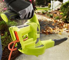This leaf blower operates cordlessly on battery power, or you can plug it in to an extension cord. This light-weight blower is a lot quieter than a gas blower, too. The battery works with other Ryobi tools, too, for even more convenience.