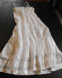 decc4e21761 French Vintage Nightgown or Petticoat in Fine Cotton w  Handmade Lace