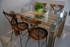 Oak Kitchen Table and Chairs . Oak Kitchen Table and Chairs . Modern Kitchen Tables, Kitchen Table Chairs, Glass Dining Room Table, Kitchen Table Makeover, Farmhouse Kitchen Tables, Wooden Kitchen, Room Chairs, Dining Rooms, Tall Dining Table