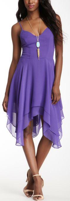 Lavender Brown Solid Handkerchief Hem Dress