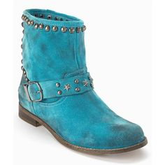 Love Label Stud Ankle Suede Biker Boots