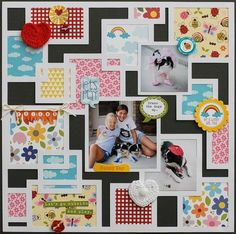 "Scrapbook layout by Diane Payne ""Let'sPlay"" for Bella Blvd Studio. Great way to use patterns from a 6x6 pad as well as scraps."