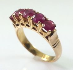 Vintage 18k Gold Ring with Rubies #jewelry #rings #gold