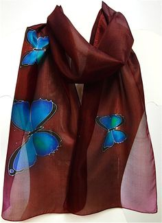 Hand Painted Burgundy silk scarf with blue butterflies