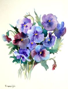 Pansies, original watercolor painting 12 X 9 purple blue flowers garden flowers. $28.00, via Etsy.