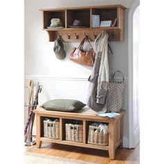 Montague Oak Storage Bench with 3 Baskets - The Cotswold Company Hallway Shoe Storage Bench, Hallway Storage Bench, Wooden Storage Shelves, Oak Shelves, Bench With Shoe Storage, Bench Set, Oak Bench, Shoe Bench, Storage Baskets